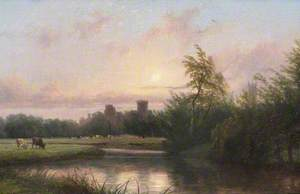 Sunset, View of Warwick Castle