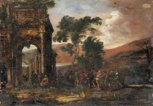 Ruin with Dancing Peasants