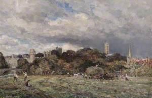 Warwick Castle from St Nicholas' Meadow
