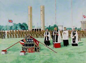 The Presentation of the New Colours to the 2nd Battalion the Royal Regiment of Fusiliers, 1 August 1970 (Minden Day), Maifeld, West Berlin, Germany