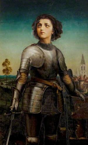 Mary Kingsley (1852–1936), as Joan of Arc from 'Henry VI', Shakespeare Memorial Commemoration, 1889