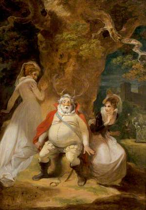 'The Merry Wives of Windsor', Act V, Scene 5, Falstaff Disguised as Herne with Mrs Ford and Mrs Page