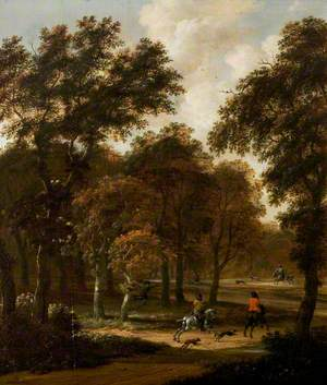 Wooded Landscape with a Stag Hunt