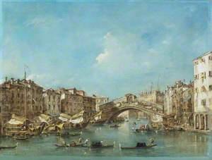 Venice: the Grand Canal with the Riva del Vin and the Rialto Bridge