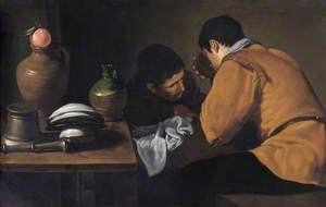 Two Young Men Eating at a Humble Table