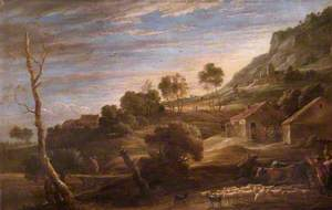 Landscape with Peasants Driving Cattle: Evening