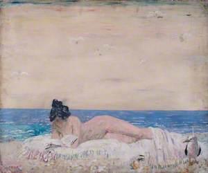 Nude Female Model (Reading On The Seashore)