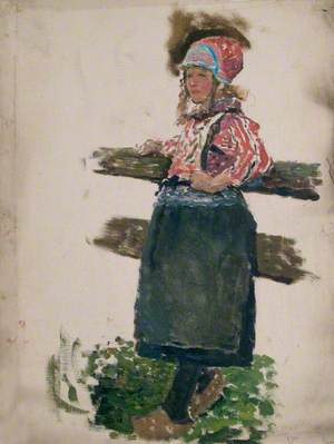 Study of Dutch Girl Leaning Against a Fence (Marken)