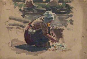 Sketch of a Woman Washing Fish on a Beach