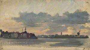 Sketch of Coastal Town, Early Evening (Holland)