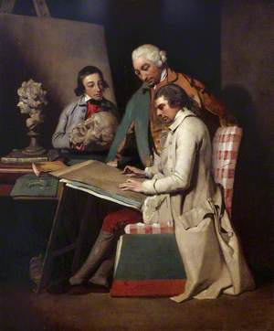 The Artist with Joseph Wilton and a Student
