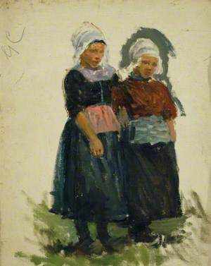 Study of Two Young Dutch Girls (Volendam)