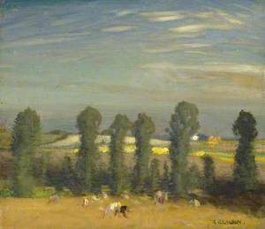 Landscape with Hayfield and Poplars