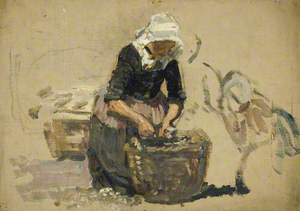Study of a Woman in Dutch Costume (Washing Fish in a Tub) (Volendam)