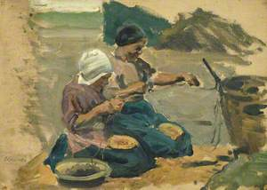 Study of Two Women Engaged in a Shoreline Activity (Volendam)