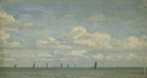 Sketch of Sailing Boats on the Sea (Holland)