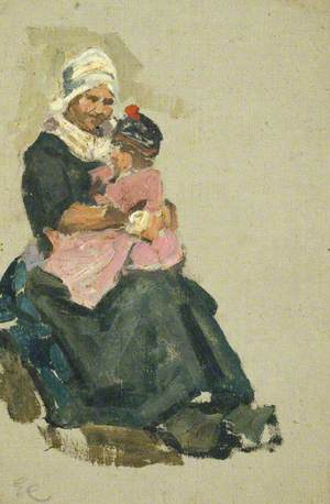 Sketch of a Seated Dutch Woman Holding a Child on Her Knee (Volendam)