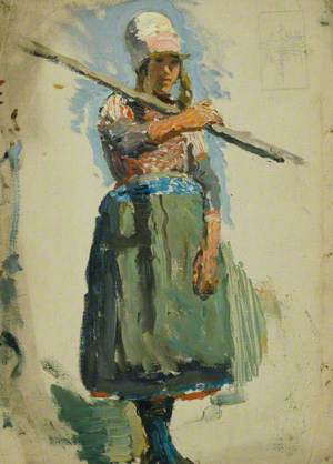 Study of a Young Girl Carrying a Pole (Marken)
