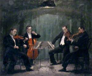 The Griller Quartet: Sidney Griller (1911–1993), CBE, FRAM (leader), Colin Hampton (1911–1996), FRAM (cello), Philip Burton (1907–1961), FRAM (viola), and Jack O'Brien (b.1909), FRAM (violin)