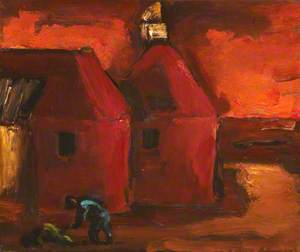 Oast Houses with Peasant in Blue