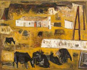Landscape with Cattle and Easel