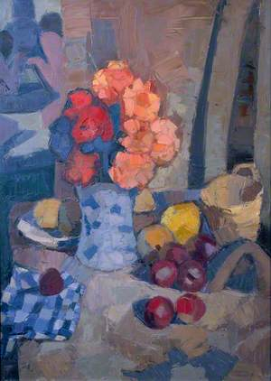Flowers, Fruit and Checked Cloth