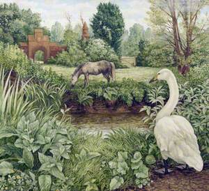 Swan and Grazing Horse