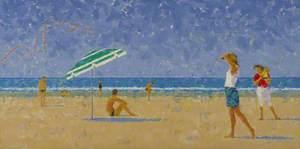Beach Scene with Blue Umbrella
