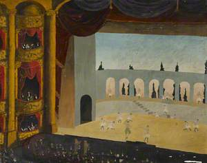 Theatre Interior with a Ballet in Progress on Stage