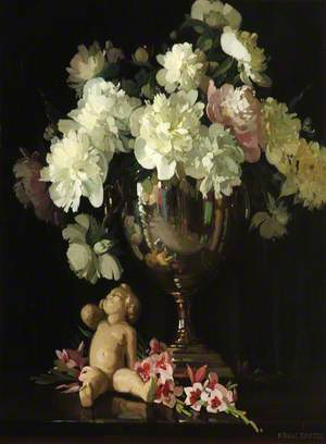 Still Life of Flowers in a Vase with Stone Putti