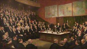 Sir James Dewar (1842–1923), Lecturing on Liquid Hydrogen at the Royal Institution, 1904