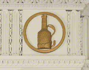 Plaster Roundel Depicting a Stephenson Miners Safety Lamp