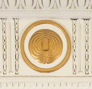Plaster Roundel Depicting Faraday's Magnetic Lines of Force Experiment