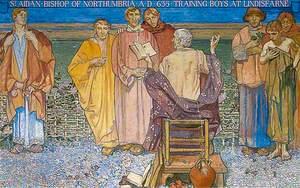 St Aidan, Bishop of North Cumbria, AD 635 Training Boys at Lindisfarne