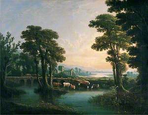 River with Cattle Drinking, a Ruined Church and a Bridge