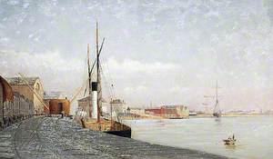 'Honfleur' Steamer Loading at a Wharf