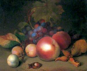 Still Life with Grapes, Peaches and Plums