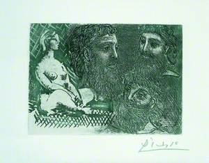 Femme nue assise et trois têtes barbues (Seated Nude and Three Bearded Heads)