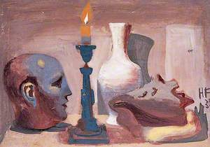 Still Life of a Bust, a Candle, a Vase and a Shell