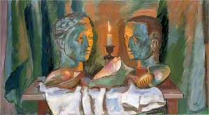 Still Life of Two Heads, Three Shells and a Candle
