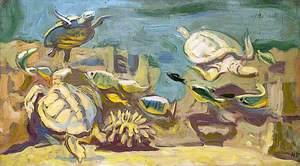 Study of Three Turtles Swimming with Fish