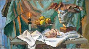 Still Life of a Head, a Wreath, a Shell, a Fruit and a Candle