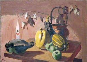 Still Life of a Candle, a Marrow, Squashes and a Bucket
