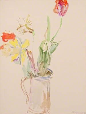Tulips in a Tin Jug