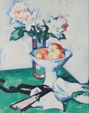 Still Life of Roses and a Bowl of Apples on a Green Tablecloth