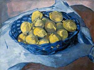 Lemons in a Blue Basket
