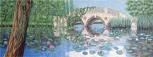 Garden Scene with Waterlilies and a Bridge