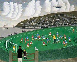 Young Footballers at Newlyn, Cornwall
