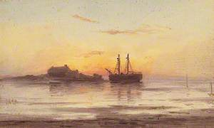 Sailing Vessels Moored at Sunset