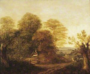 Woody Landscape with Lovers and Donkeys